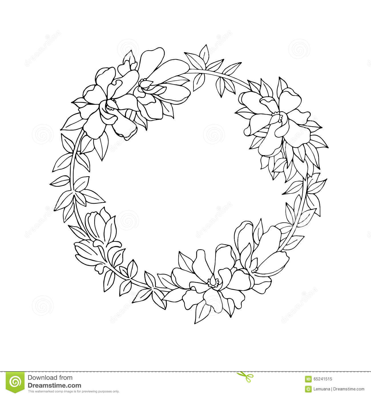 Royalty free vector black floral flower vintage white wreath