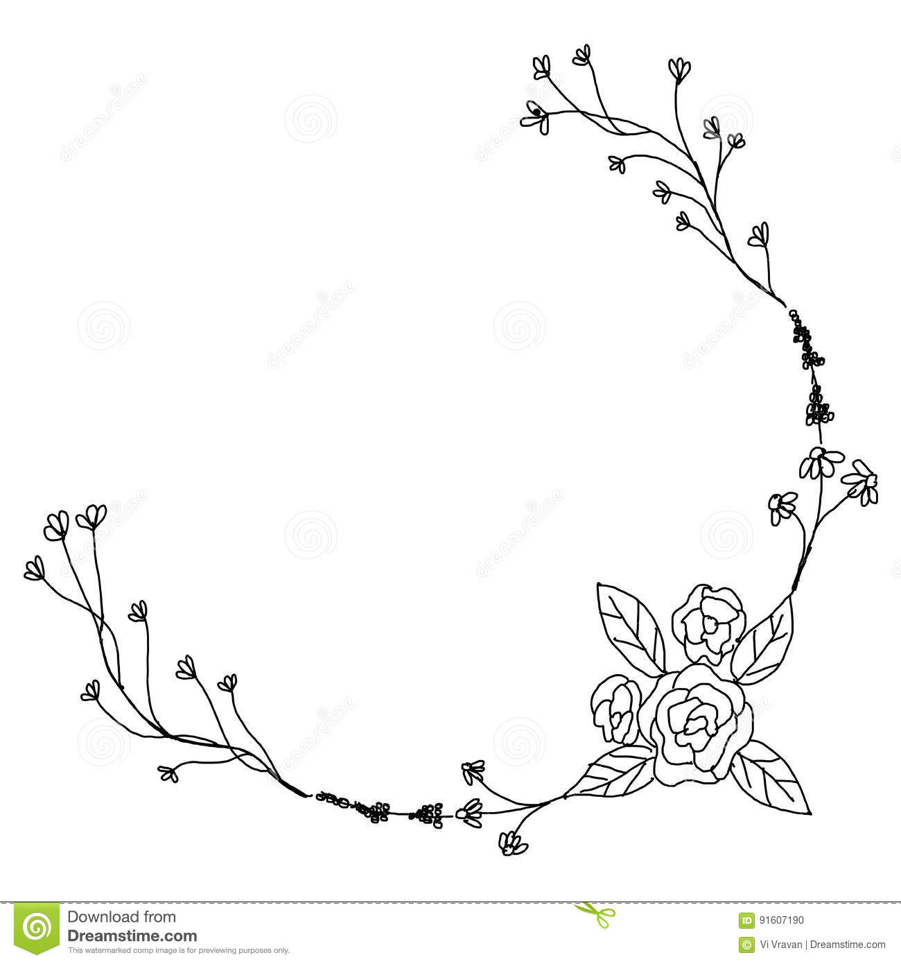 Black and white floral wreath stock vector image 65241515 -  Wreath Stock Vector Image 65241515 Black And White Hand Drawn Flower Download