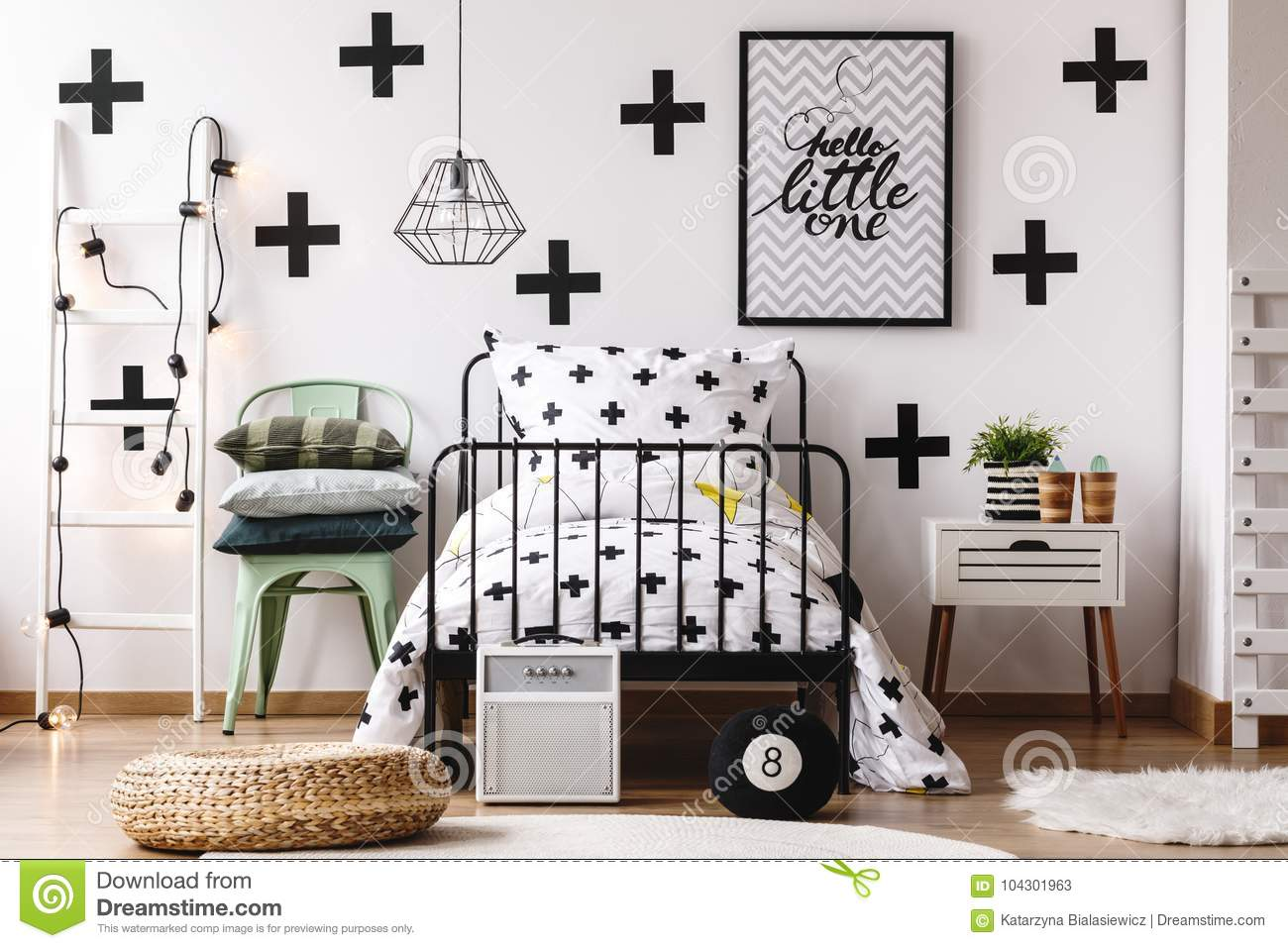 Pouf Mint Black And White Kids Bedroom Stock Image Image Of