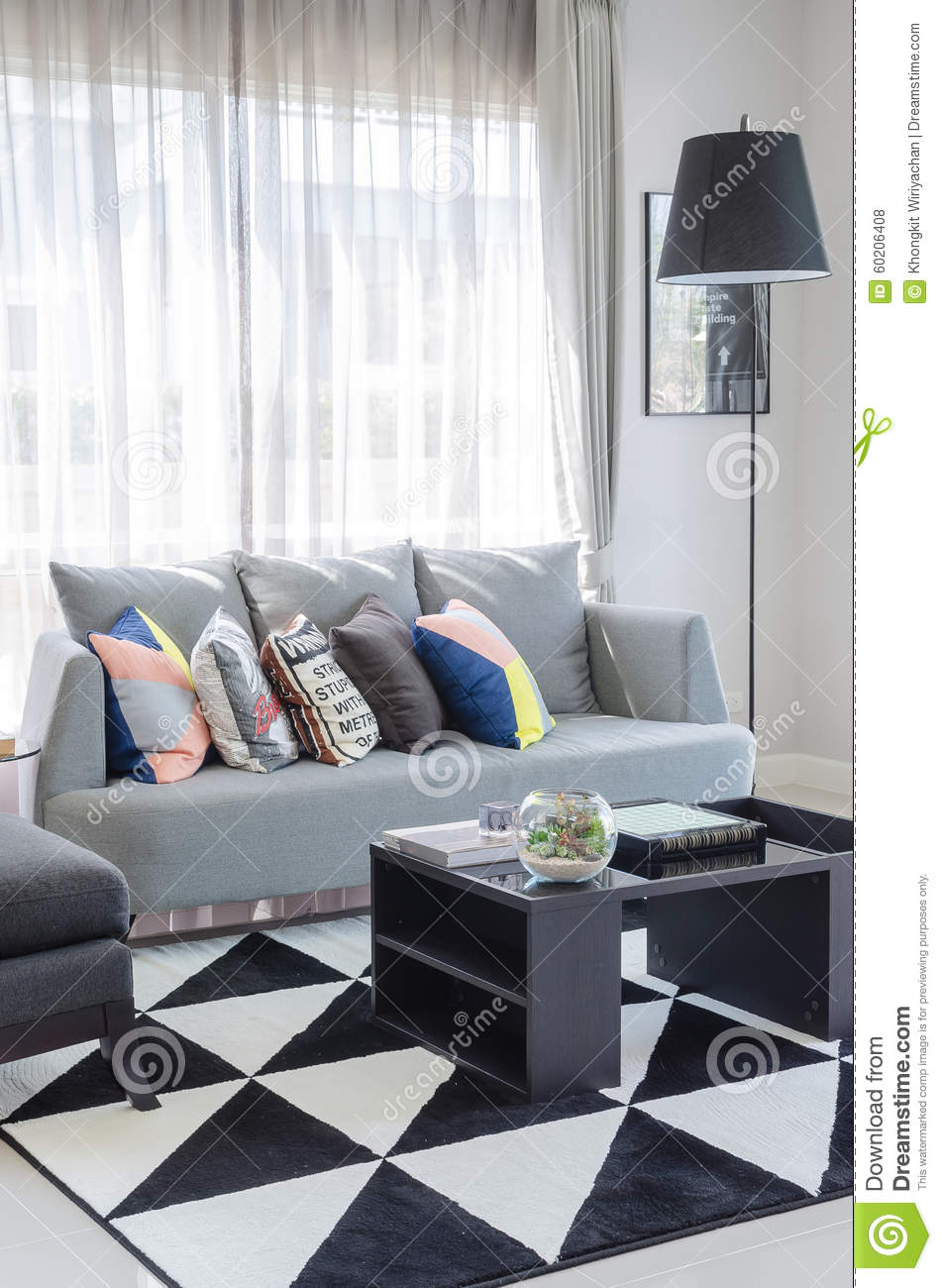 Grey Sofa In Lounge Black And White Living Room Color Tone With Modern Grey Sofa Stock