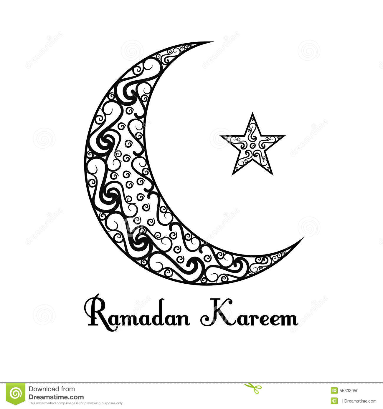 Full Moon Drawing Black And White Black White Moon Star Poster White Background Ramadan