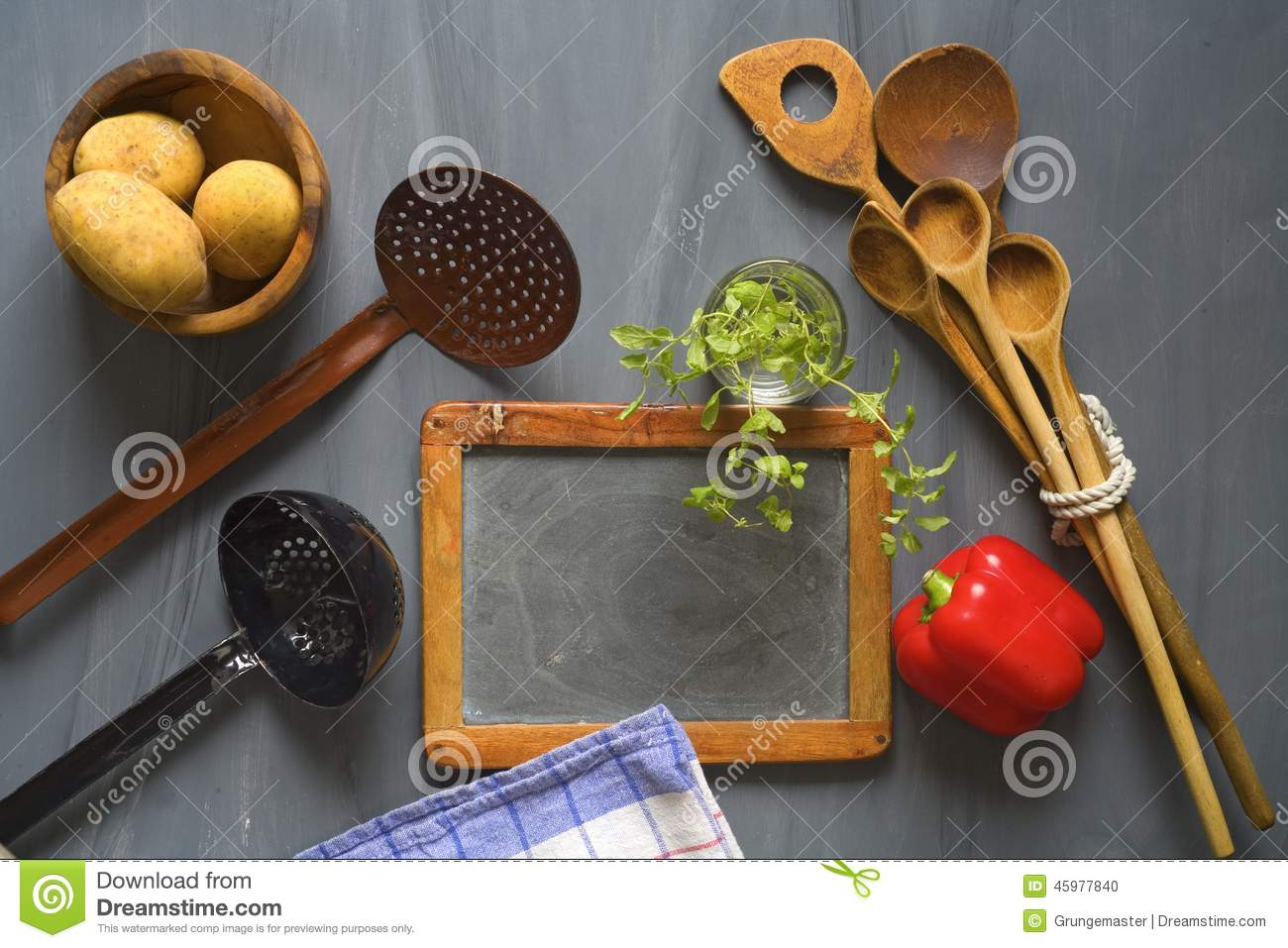 Kitchen Gadgets Online Blackboard For Cooking Recipes Stock Photo Image 45977840
