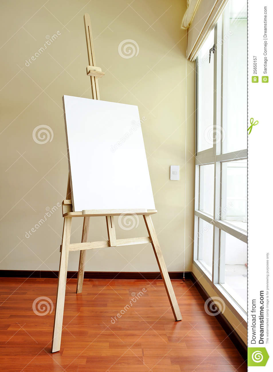 Parquet Color Blank Canvas On A Wooden Tripod In The Studio Stock Image
