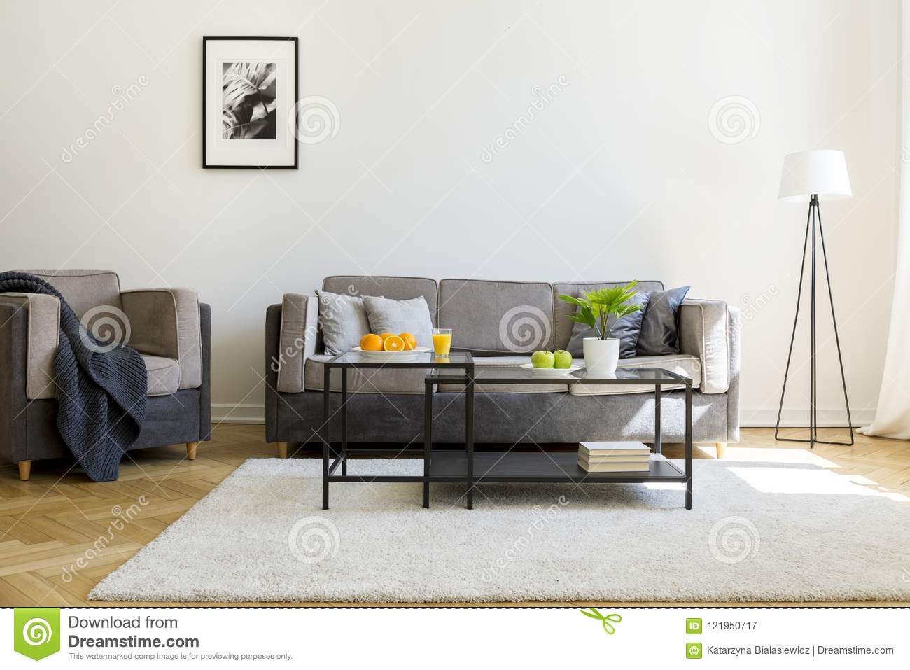 Sofa Next Grey Blanket On Armchair Next To Grey Sofa In Bright Living Room Inte