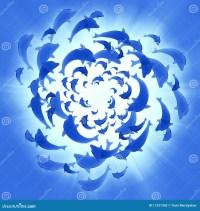 Blaue Delphine, Die Kreis- Schwimmen Stock Abbildung ...