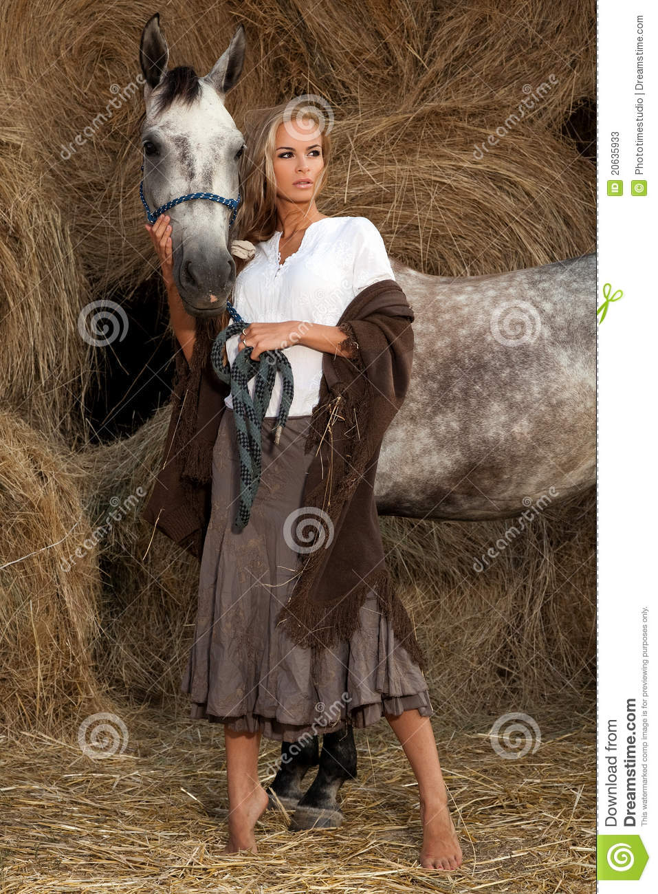 Pretty Girl Wallpapers Free Blond Woman With Horse Stock Photos Image 20635933