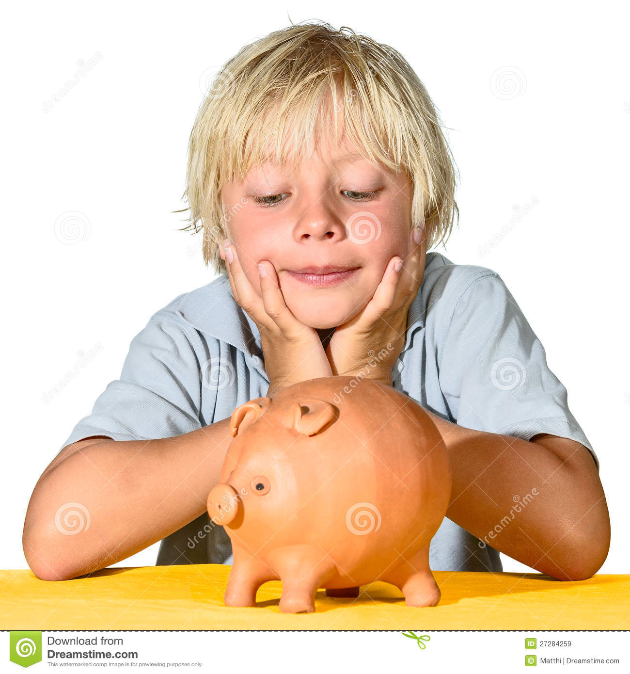 Piggy Banks For Little Boys Blonde Boy With Piggy Bank Royalty Free Stock Images