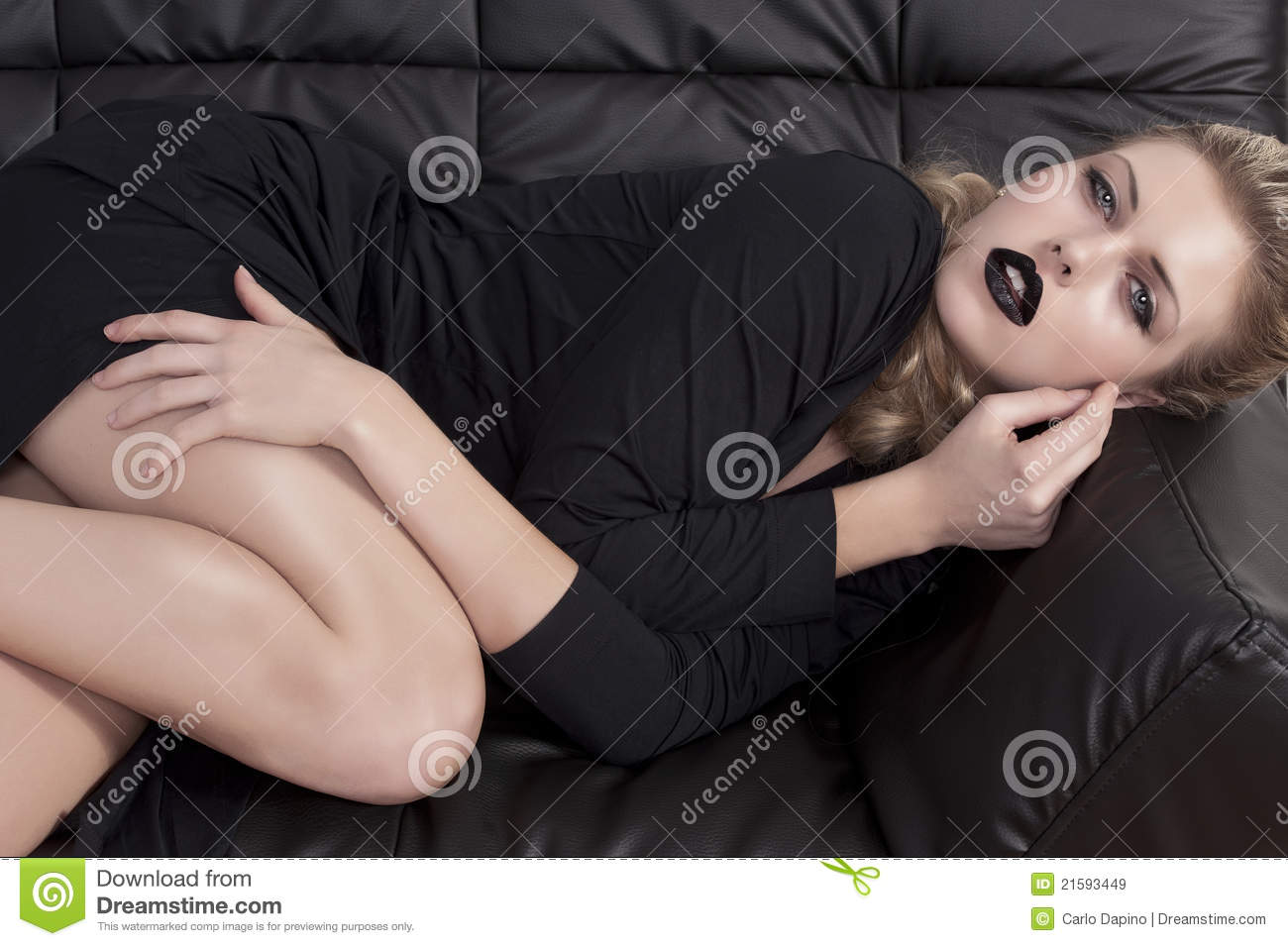 Free Sexmovie Blond Sofa Blonde Girl Laying On A Black Sofa Stock Image - Image Of