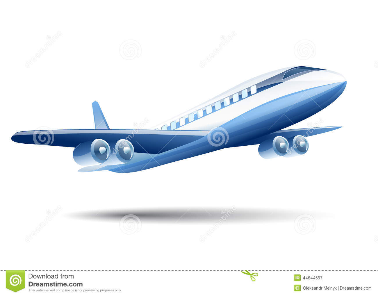 Blue Airplane On A White Background Stock Vector