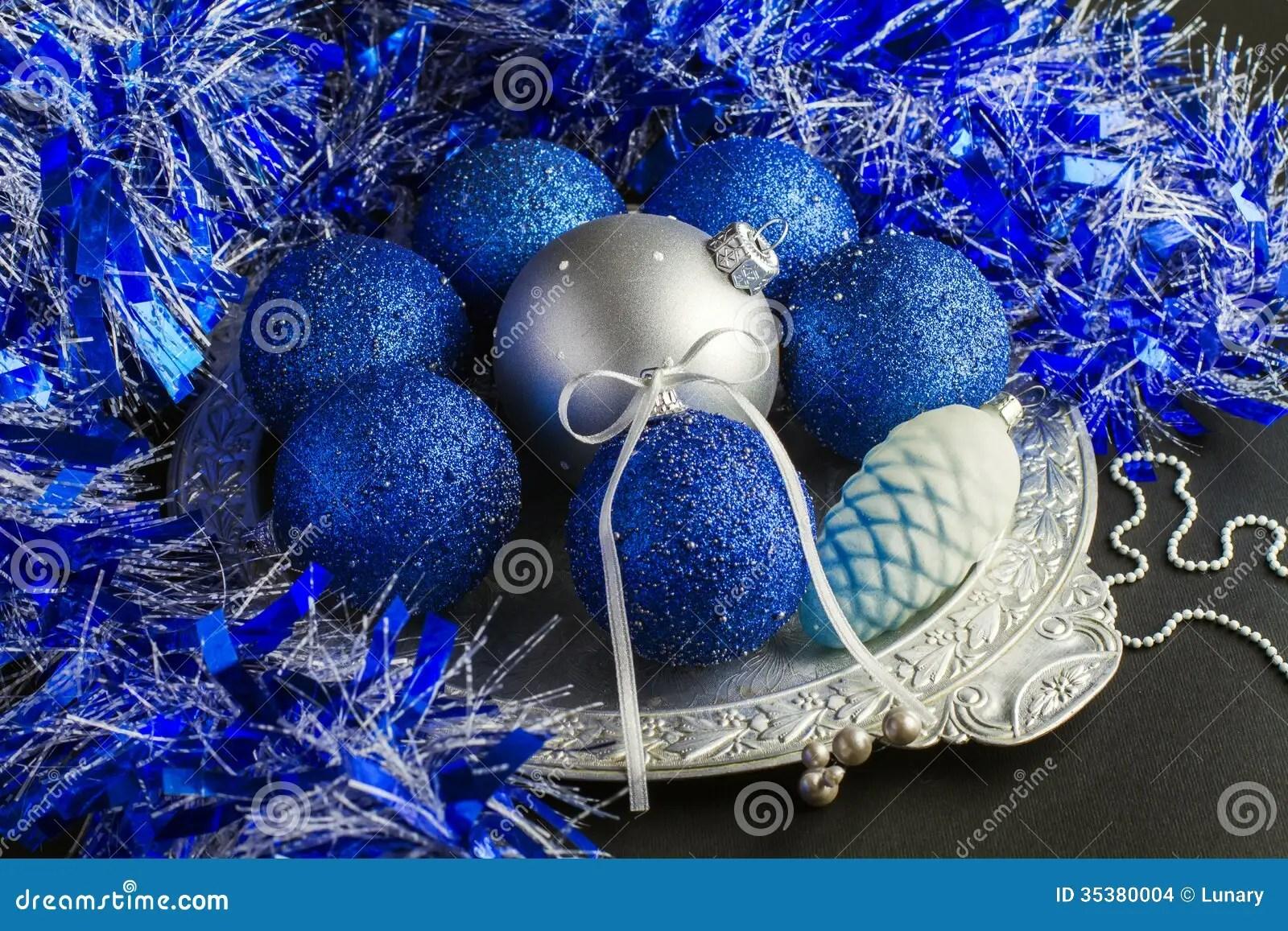 As Royal Decor 3d Wallpaper Blue Christmas Decorations Stock Images Image 35380004