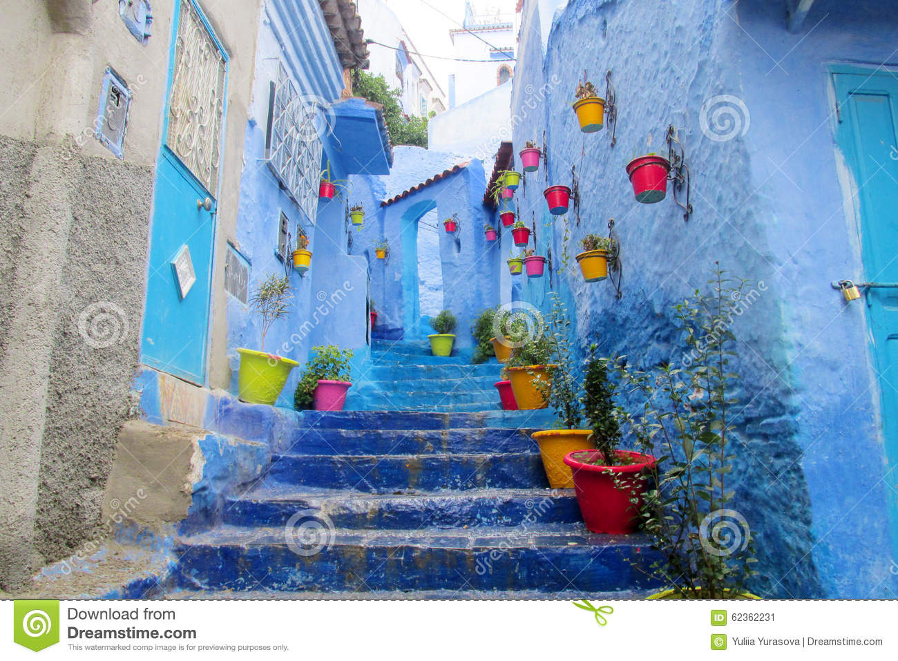 3d Wallpaper For House Walls Blue City Chefchaouen Street Stock Photo Image 62362231