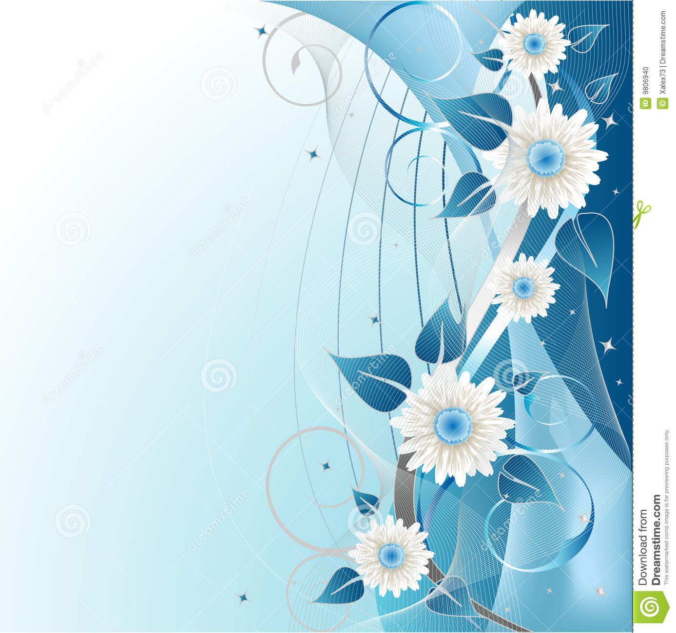 Sweet Cute Wallpapers Of Flowers Blue Floral Background Stock Vector Illustration Of