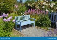 Blue Garden Bench Royalty Free Stock Image - Image: 26035366
