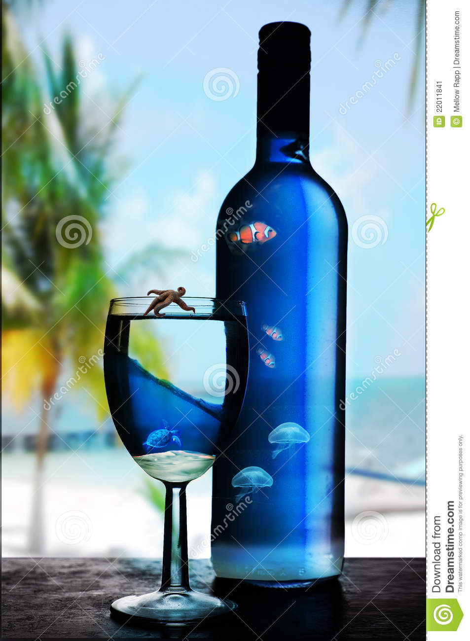 3d Animation Wallpaper Download Blue Glass And Bottle Of Wine Stock Image Image 22011841