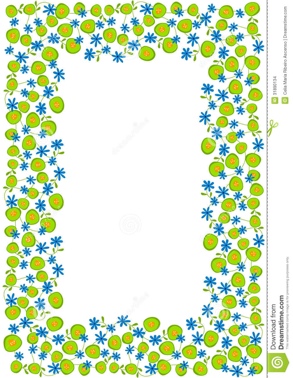 Cute Circle Wallpaper Blue And Green Spring Flowers Frame Border Stock
