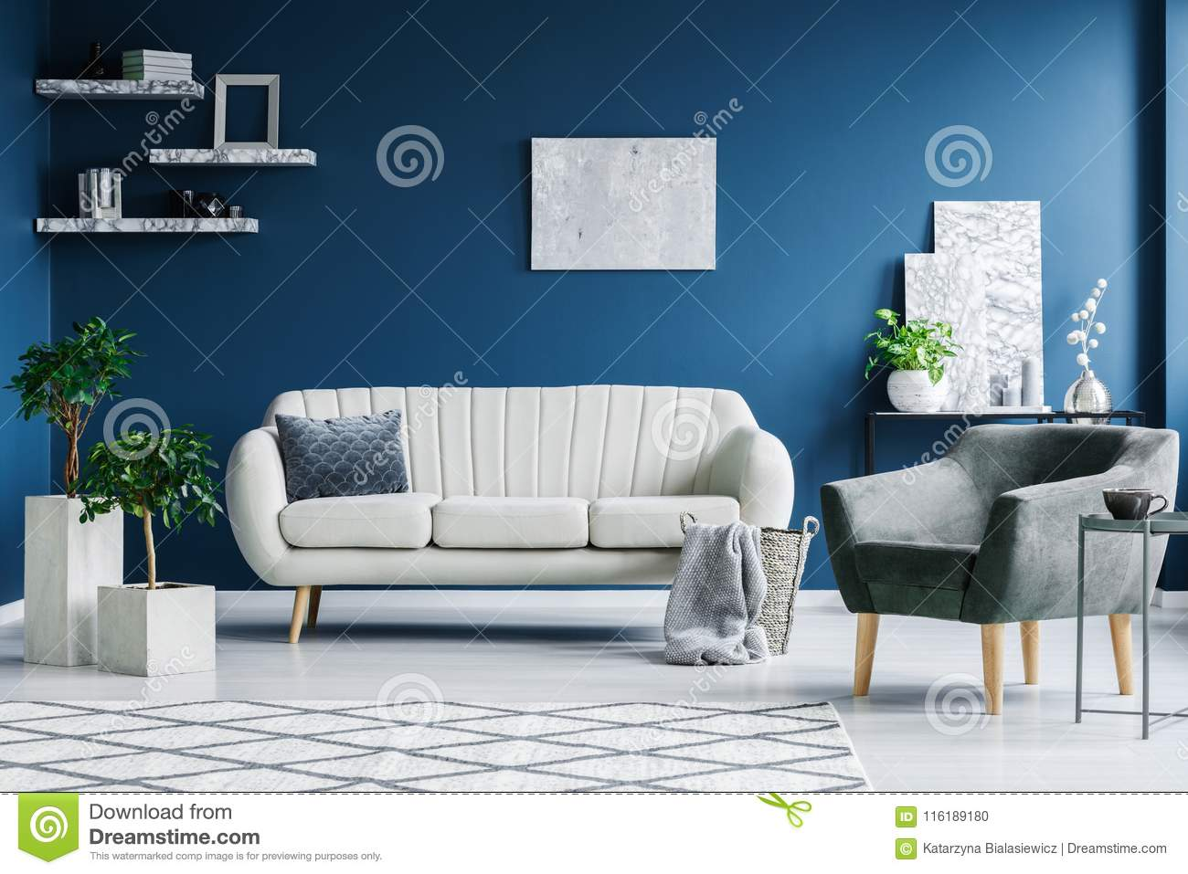 Grey White And Blue Living Room Blue Living Room Stock Photo Image Of Grey Decorations 116189180