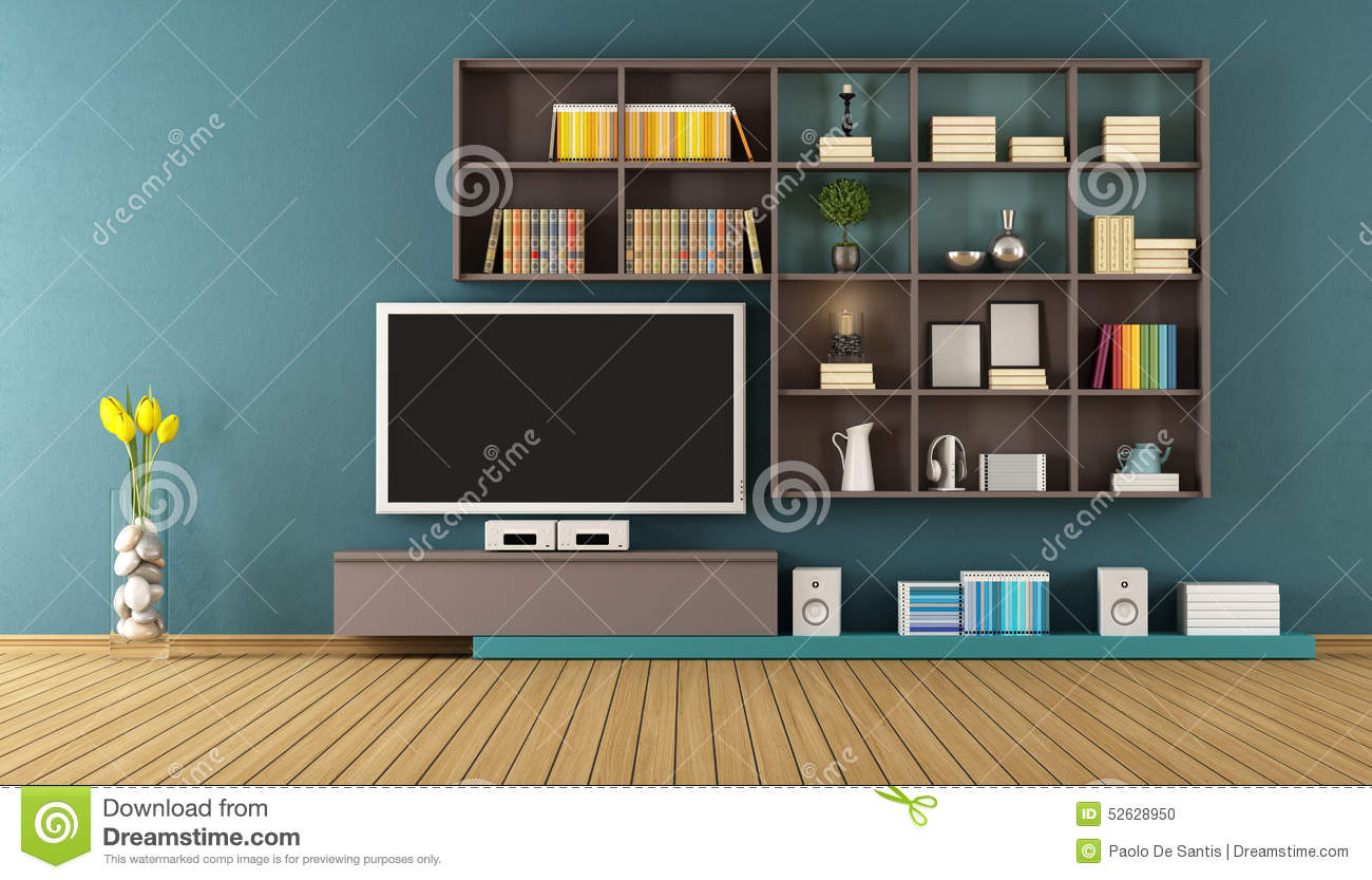 Blue Lounge Blue Lounge With Wall Unit 3d Rendering Stock Illustration