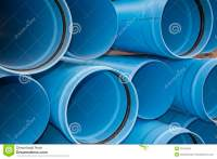 Blue PVC Municipal Water Irrigation Pipe Line Pile Stock ...