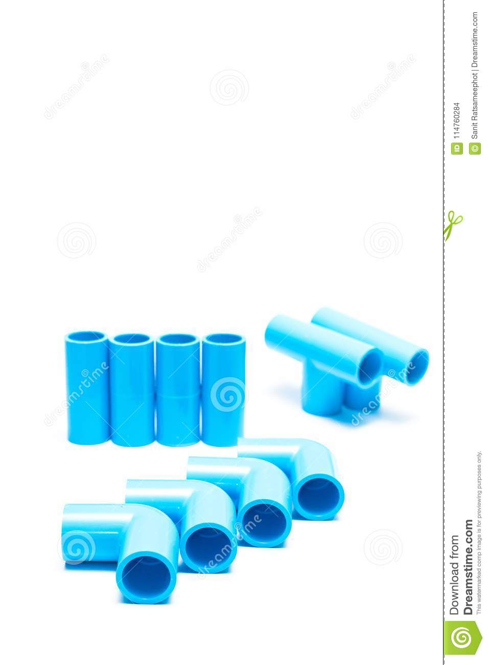 Pvc Joints Blue Pvc Pipe Fittings Stock Photo Image Of Joint 114760284