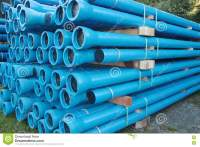 Blue PVC Plastic Pipes And Fittings Used For Underground ...