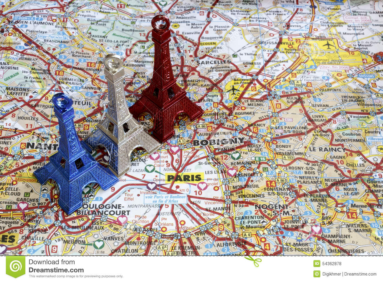 Stadtkarte Paris Blue White And Red Eiffel Tower On Paris Map Stock Photo