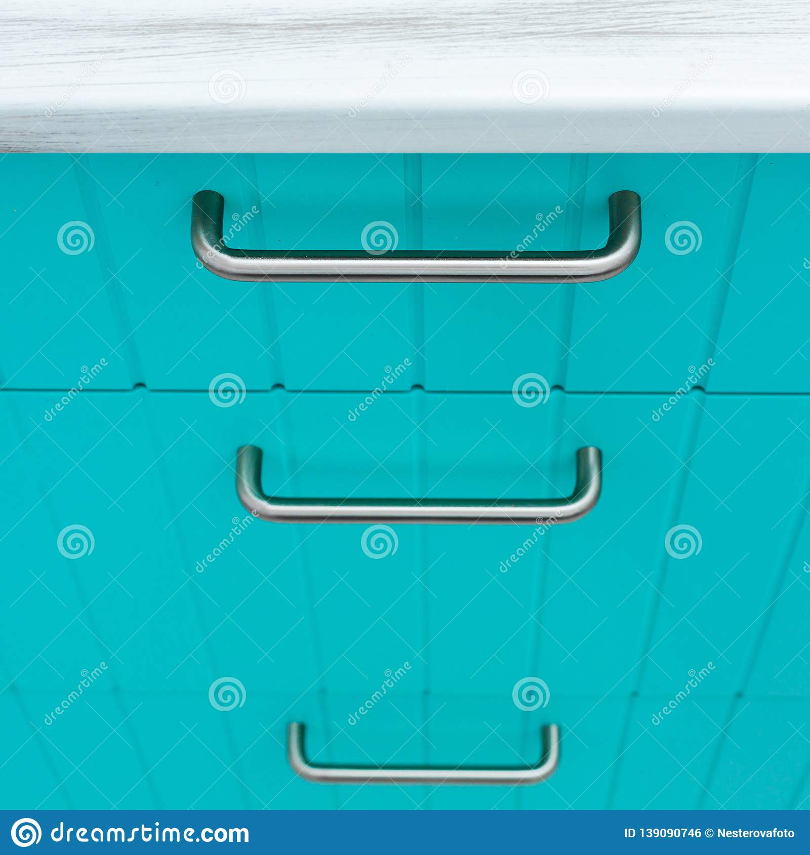 Chrome Handles For Kitchen Cabinets Blue Wooden Facade Of Kitchen Cabinets Stock Photo Image Of Door
