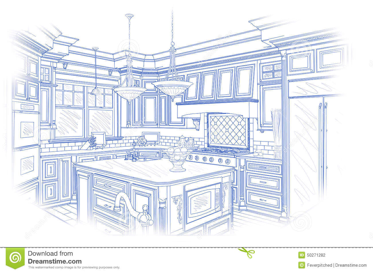 Drawing Kitchen Plans Blueprint Custom Kitchen Design Drawing On White Stock