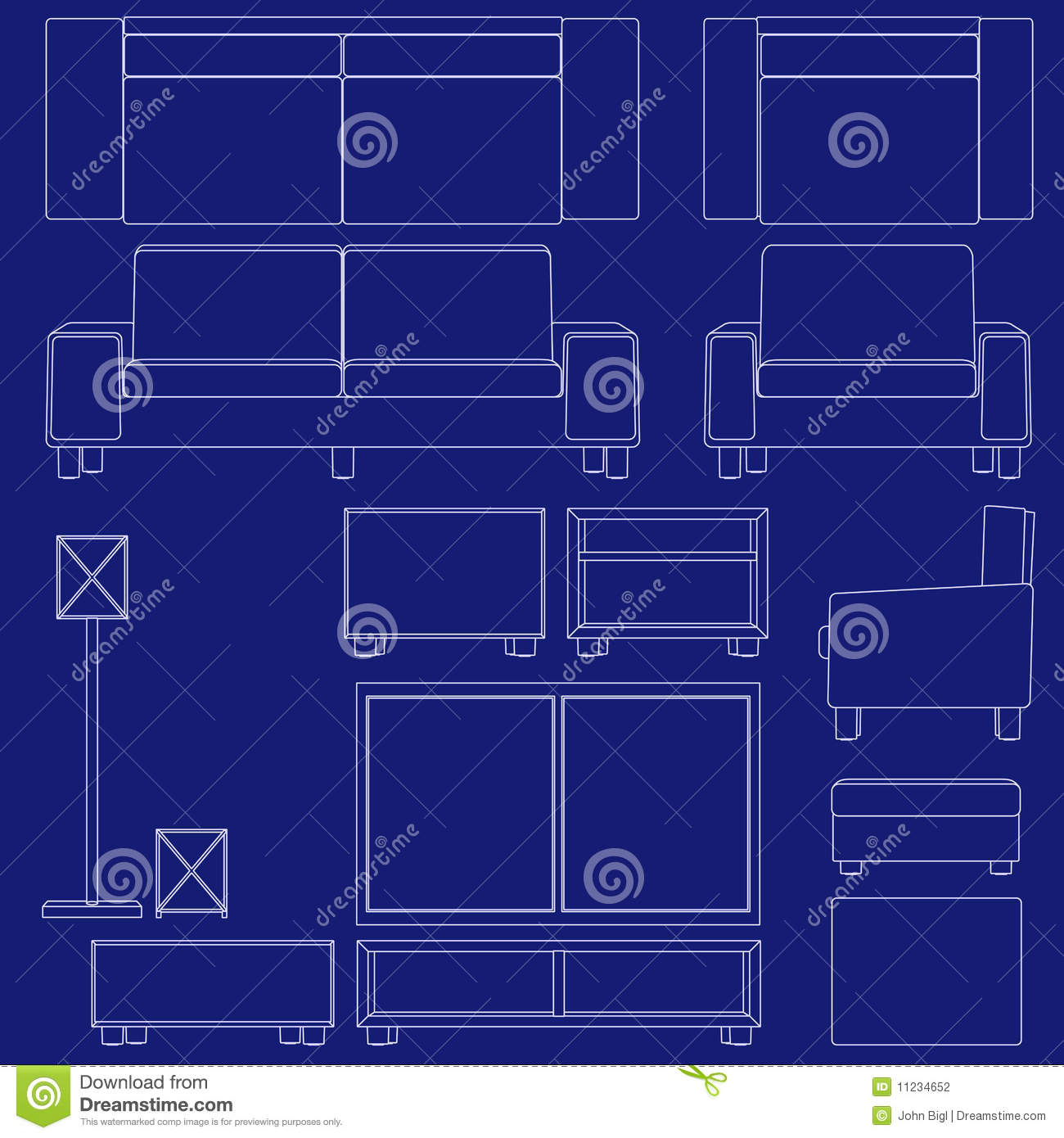 Blueprint Living Room Furniture Stock Vector