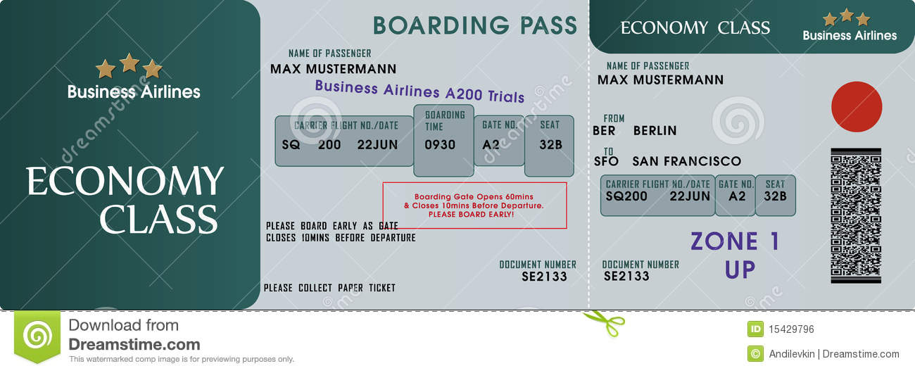 Boarding pass template stock vector Illustration of stub - 15429796 - boarding pass template