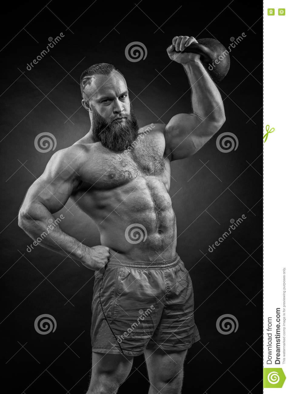 Kettlebell Bodybuilding Bodybuilder With A Beard Lifts A Heavy Kettlebell Stock Image