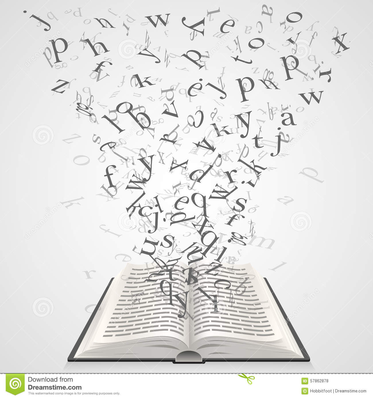 Falling Feathers Wallpaper Book With Flying Letters Stock Vector Image Of Page
