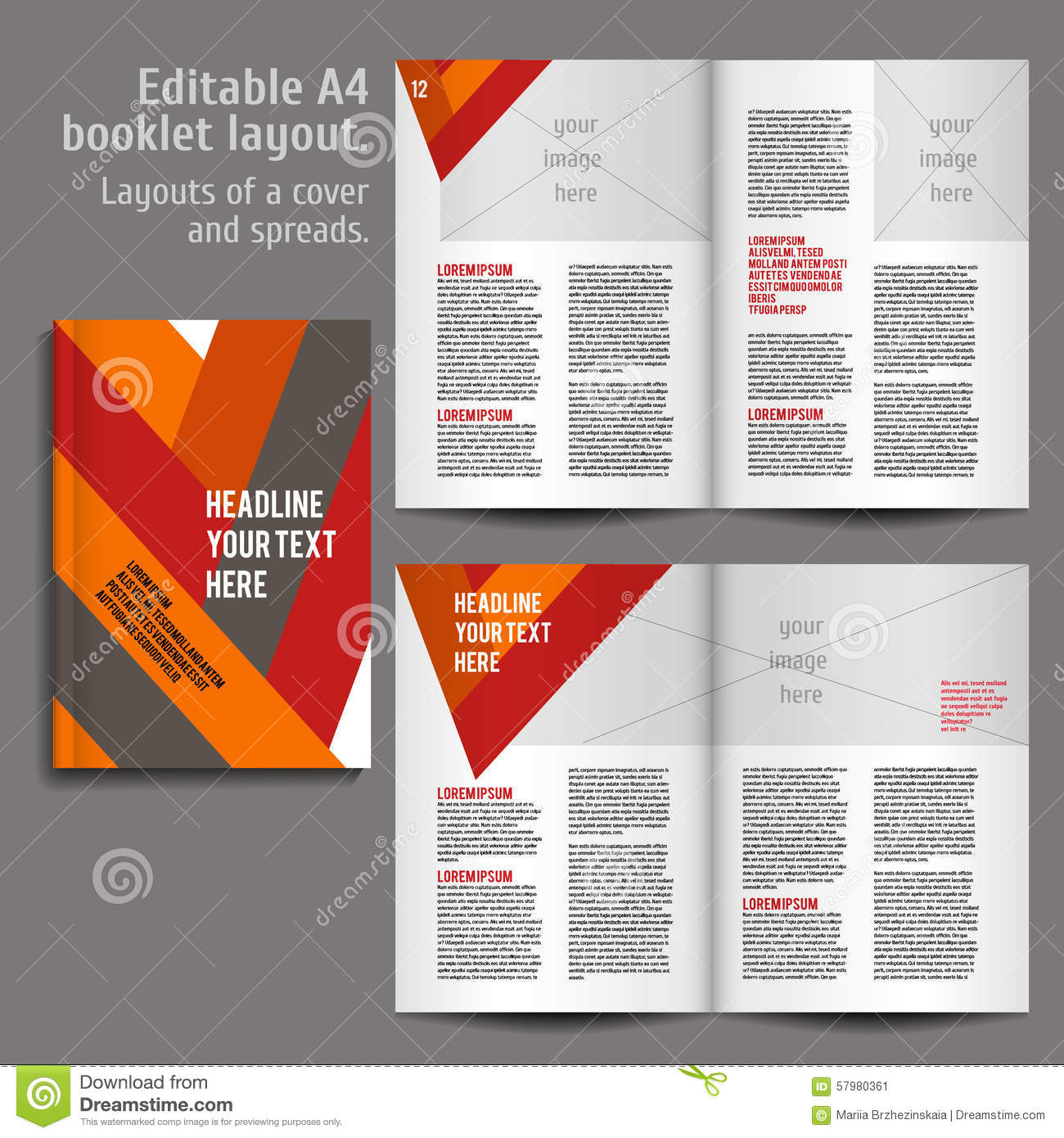 A4 Book Layout Design Template Stock Vector Illustration
