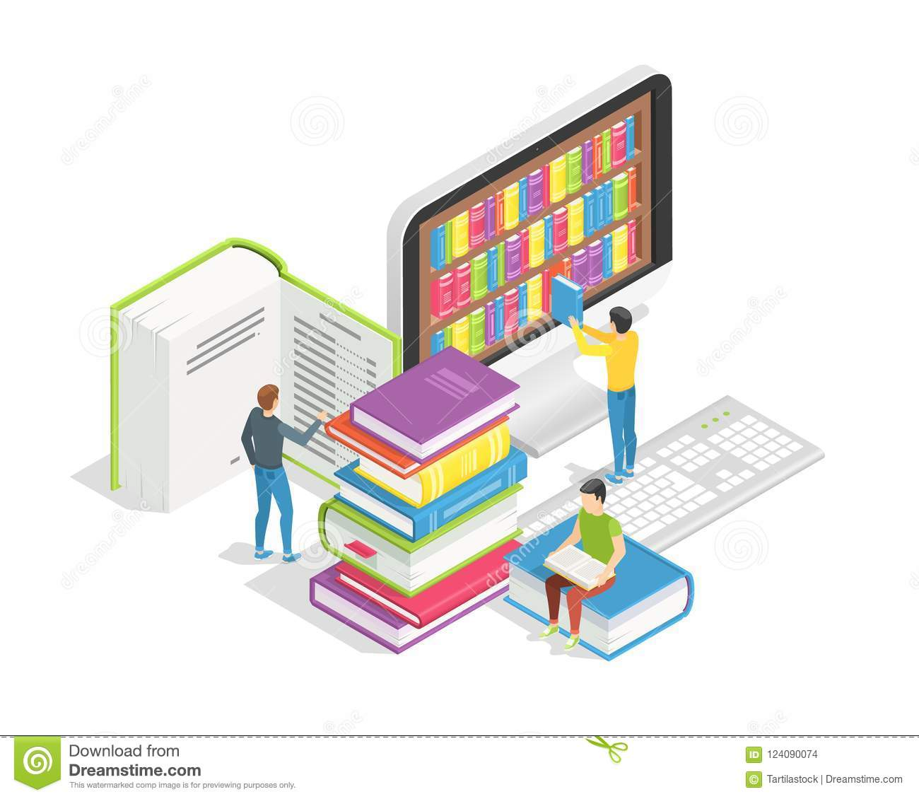 Read The Book Online Book Reading Concept Small People With Huge Books Education