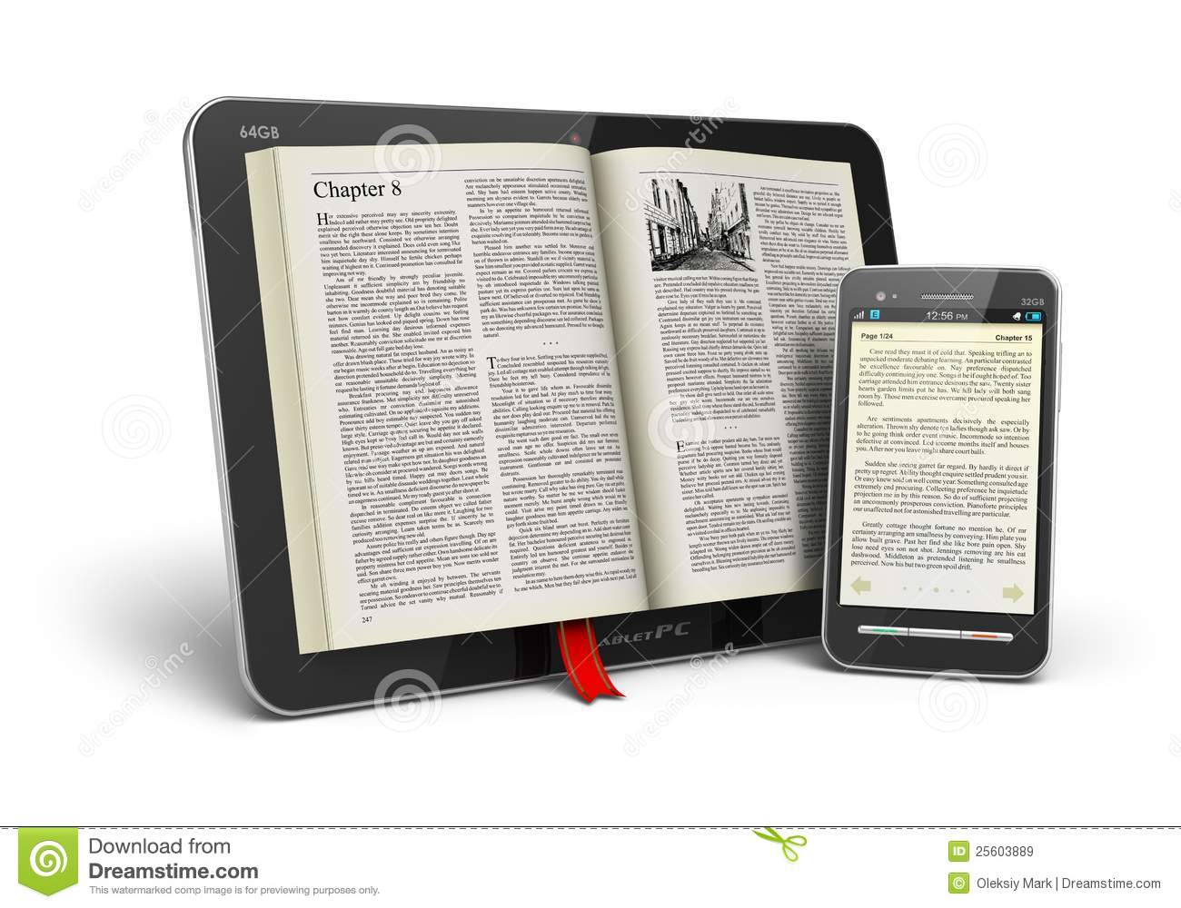 Lector Libros Tablet Book In Tablet Computer And Smartphone Royalty Free Stock
