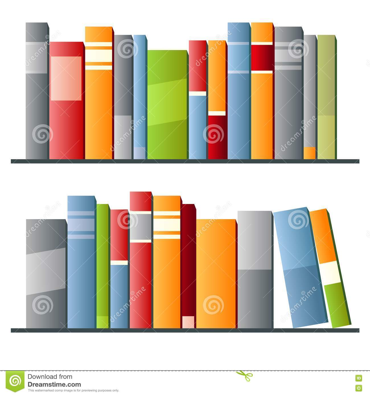 Row Of Books Vector Books In A Row On White Background Stock Images Image