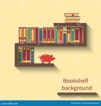 Flat Bookshelf Reading Books Illustration With Shadow ...