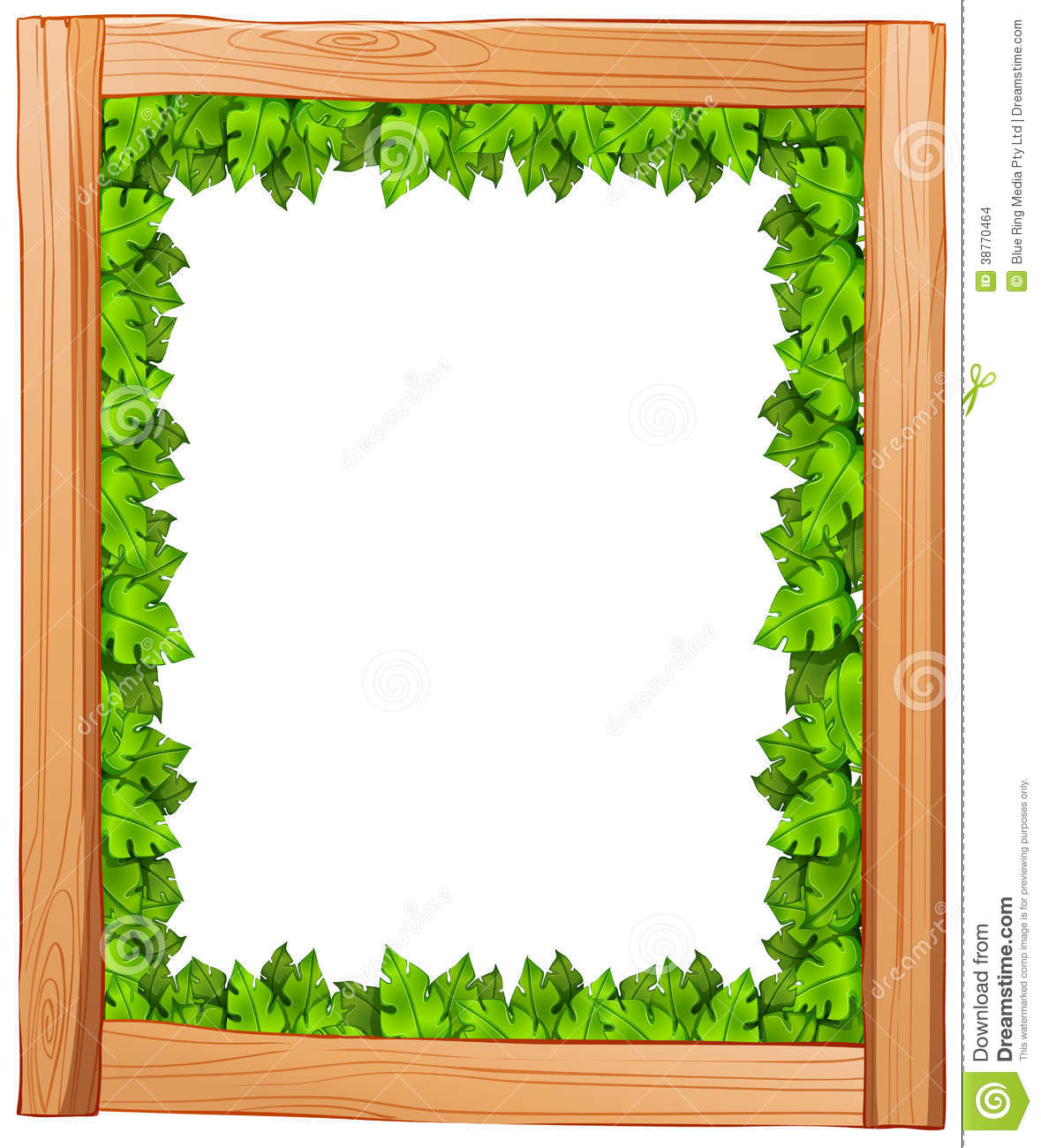Houten Border A Border Design Made Of Wood And Green Leaves Stock Images