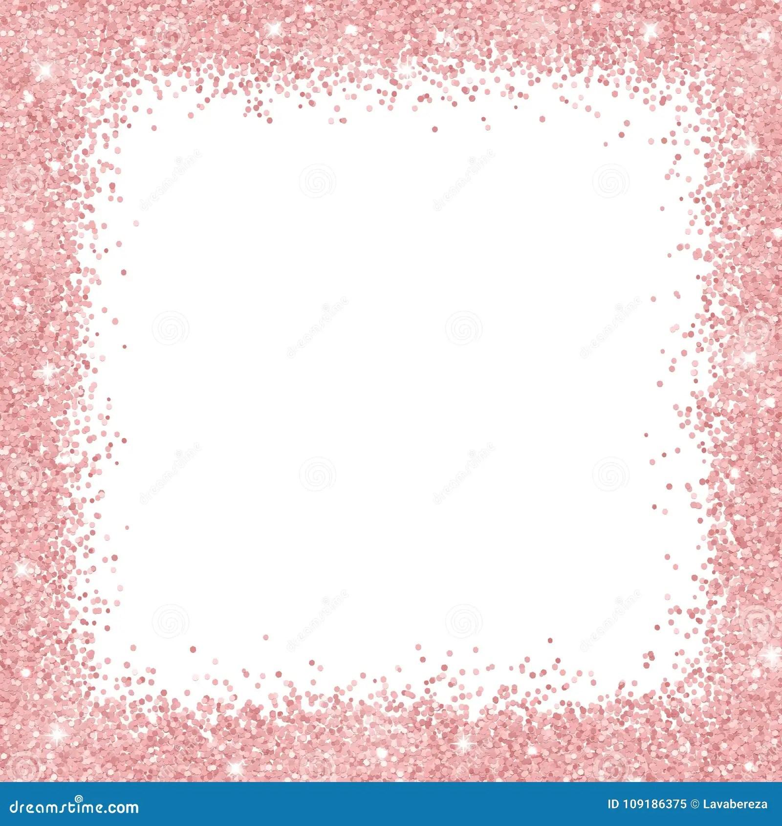 Cute Line Wallpaper Border Frame With Rose Gold Glitter On White Background