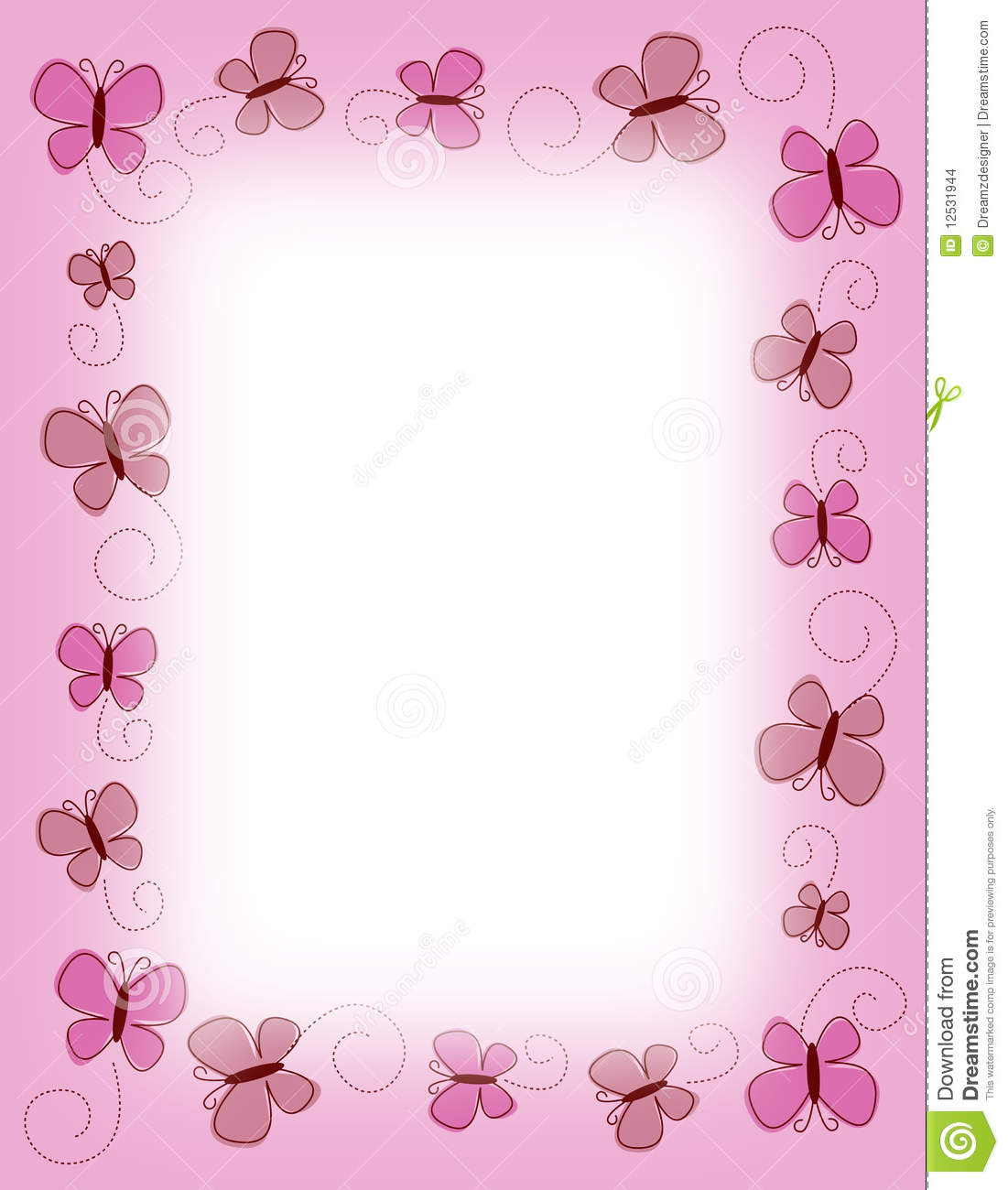 Cute Bordered Pastel Flower Wallpaper Border Pink Butterfly Butterflies Stock Images Image