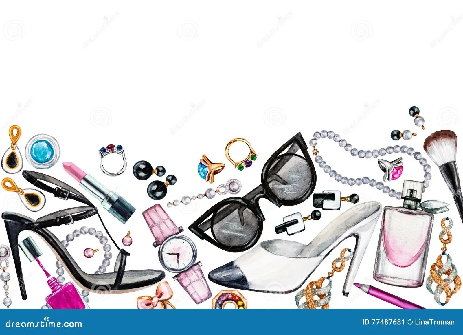 Border Of Various Watercolor Female Accessories Makeup