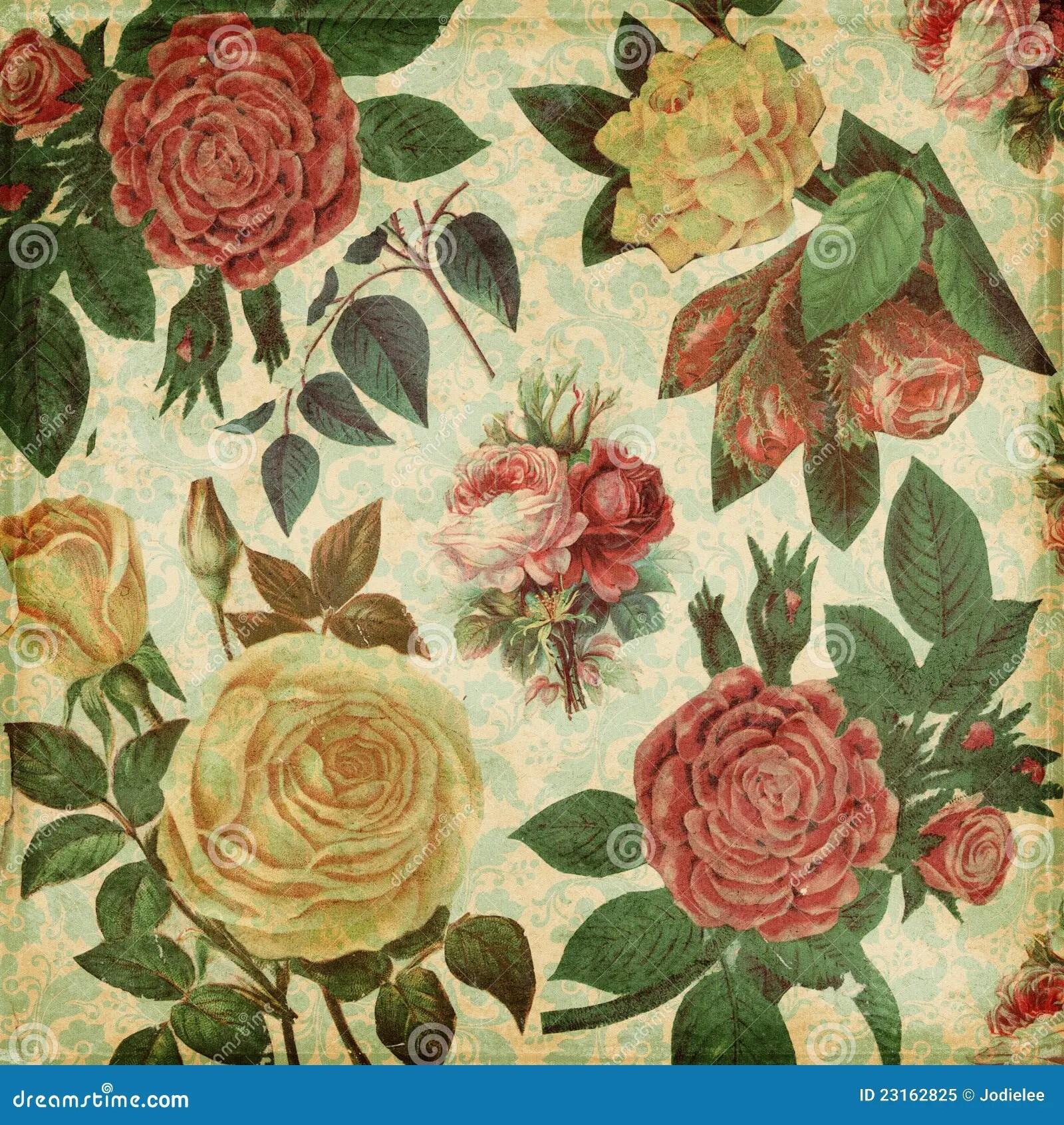 Free Fall Themed Desktop Wallpaper Botanical Vintage Roses Shabby Chic Background Royalty