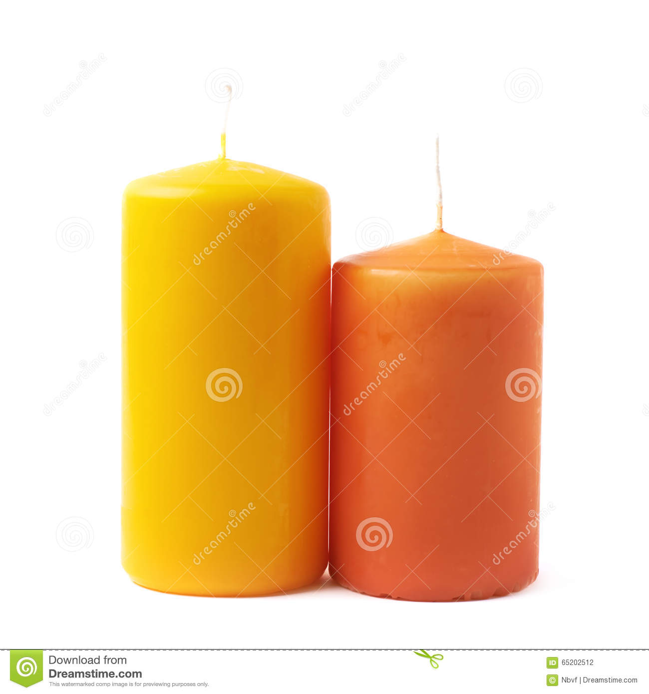 Bougies Jaunes Bougies Jaunes Et Oranges D Isolement Photo Stock Image Du