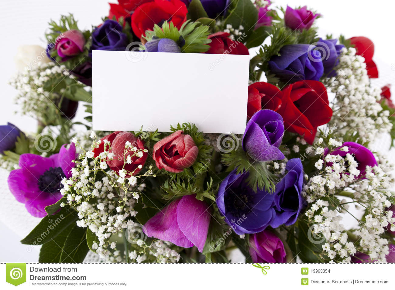 Bouquet De Fleur Bouquet Of Flowers With Blank White Card Stock Photo