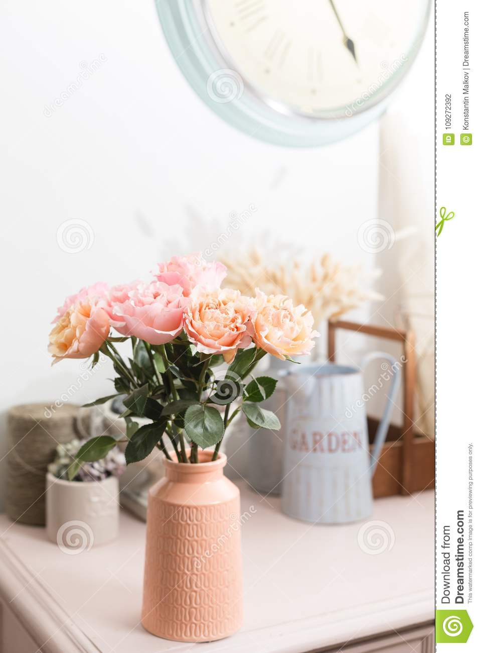 Shabby Chic Shop Bouquet Flowers Of Pink Roses In Glass Vase Shabby Chic