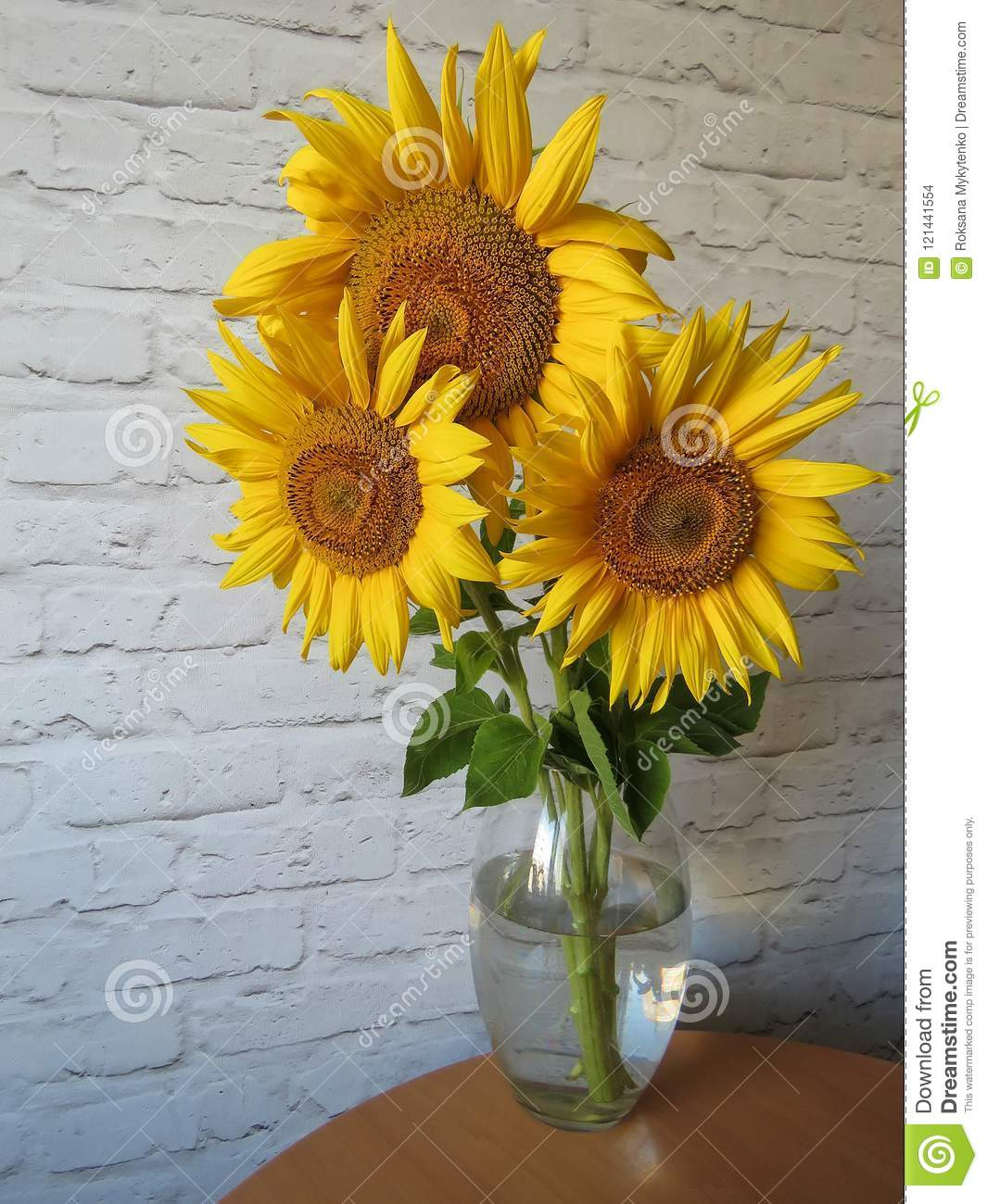 Kitchen Bouquet Bouquet Of Sunflowers In A Vase In The Kitchen Stock Photo Image