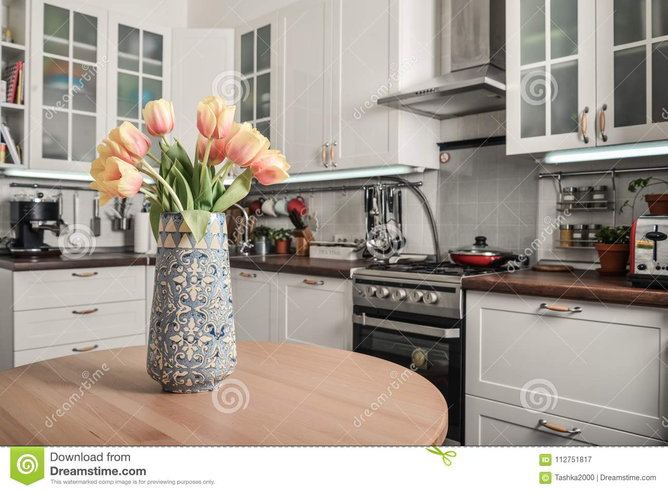 Kitchen Bouquet Bouquet Of Tulips In Interior Of The Kitchen Stock Image Image