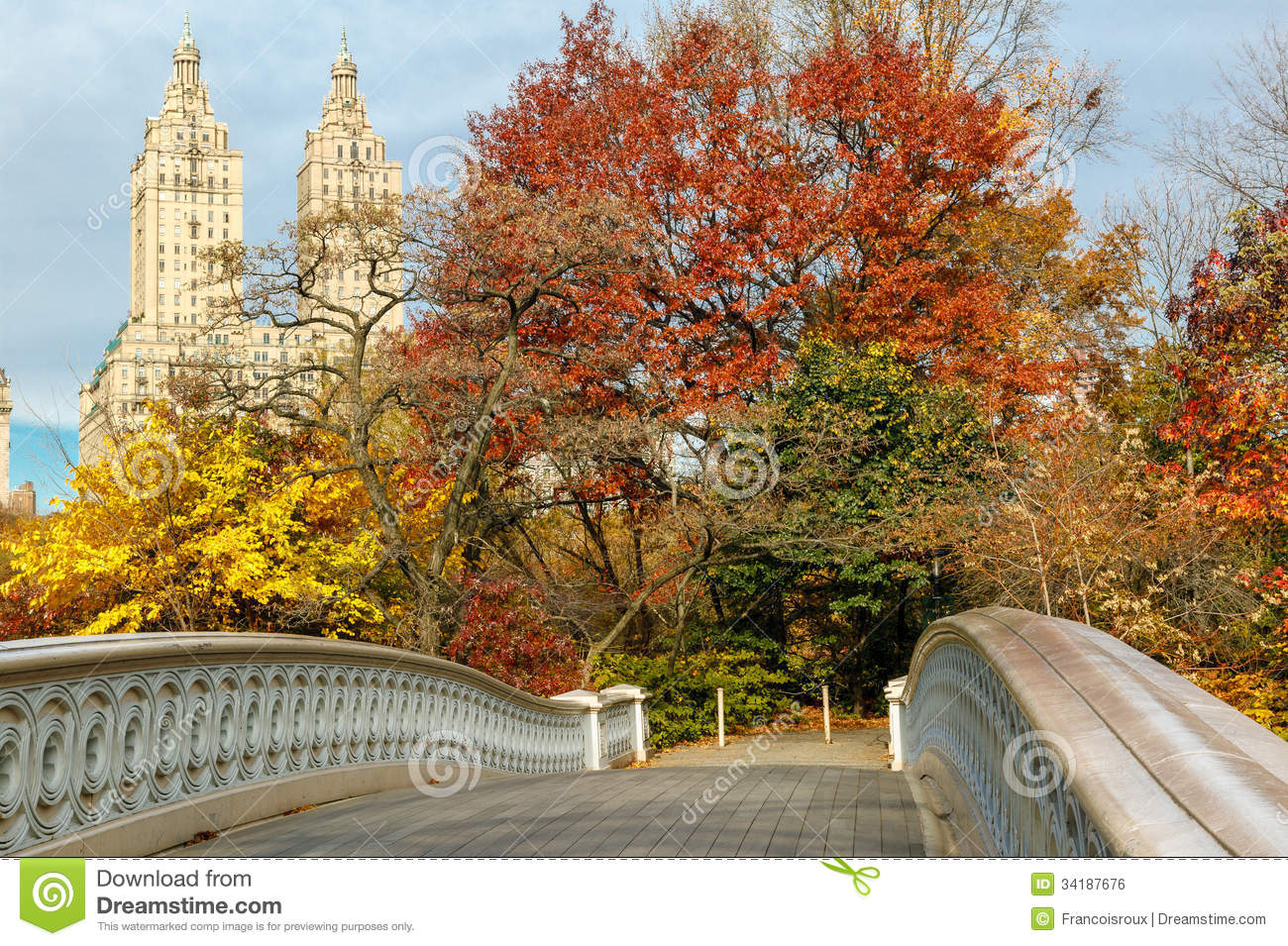 Fall Trees Wallpaper Bow Bridge And Fall Colors In Central Park Manhat Royalty