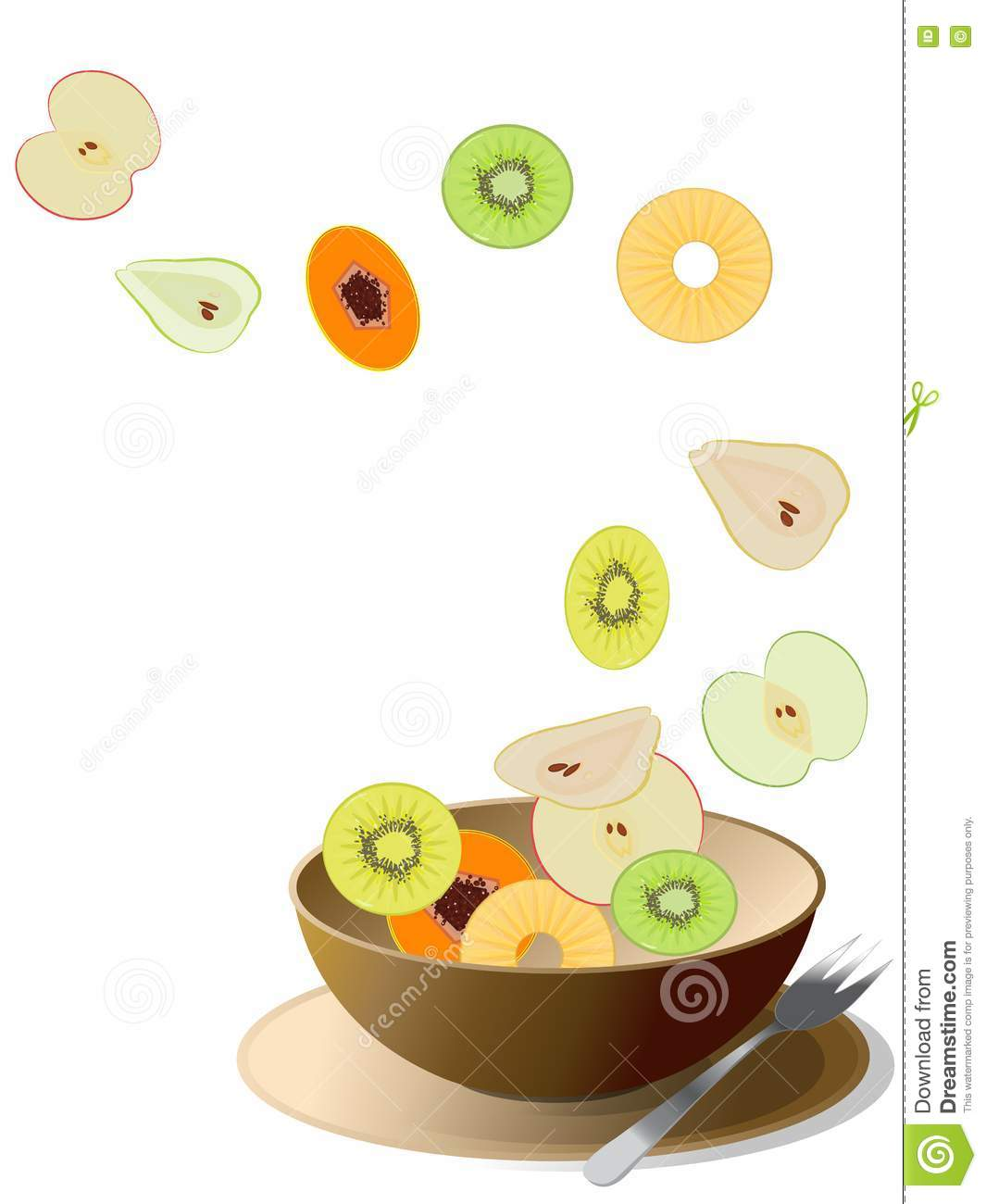 Colorful Fruit Bowl Bowl With Sliced Colorful Fruits Royalty Free Stock Image