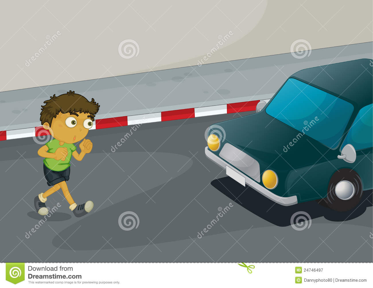 Road Crossing Clipart Boy Crossing Road Stock Illustration Image Of Concrete