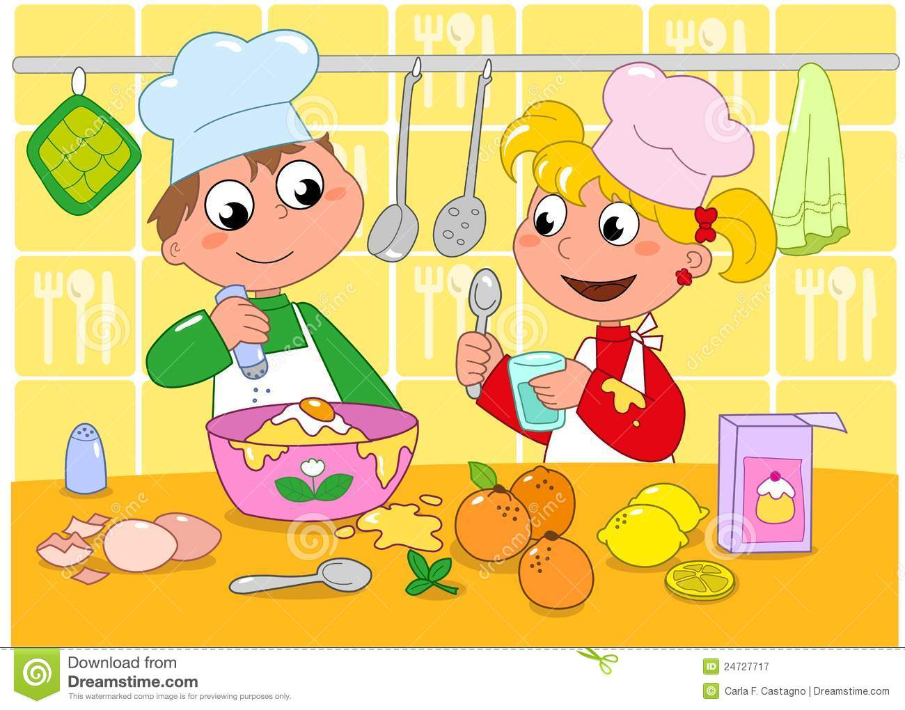 Cocinando Para Ellos Boy And Girl Cooking Stock Vector. Illustration Of Food